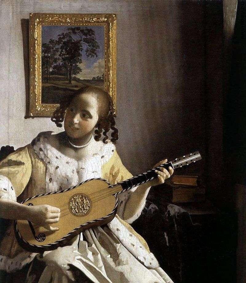 Młoda kobieta z gitarą   Jan Vermeer
