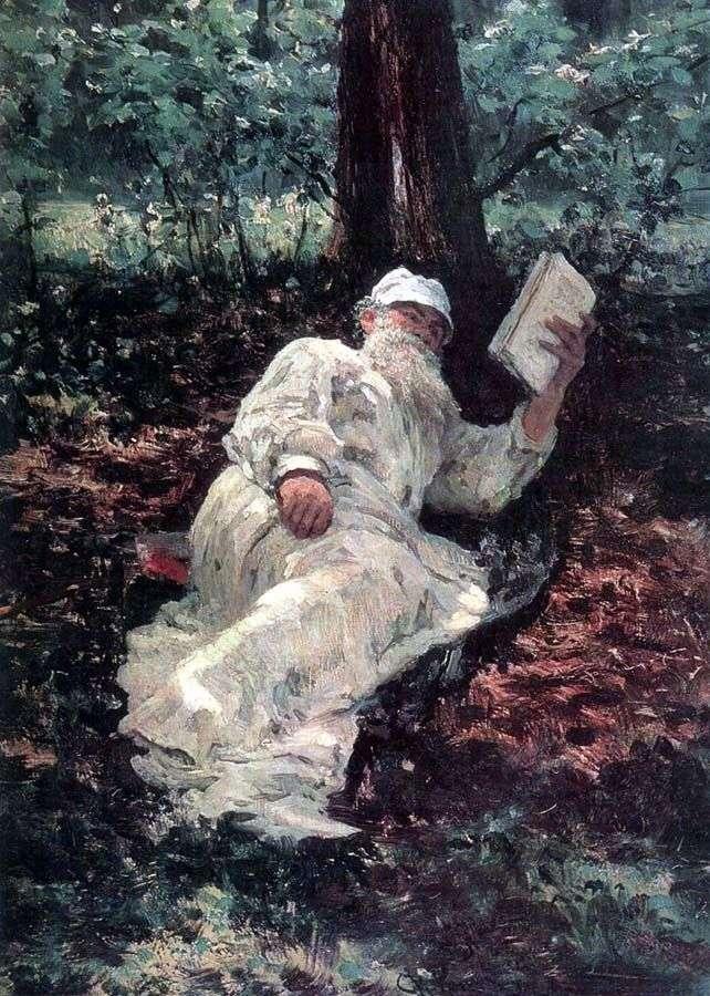 L. N. Tołstoj na wakacjach w lesie   Ilya Repin
