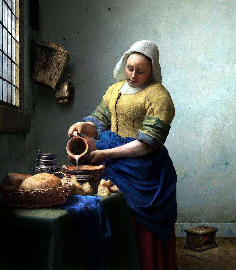 Pokojówka z dzbankiem na mleko   Jan Vermeer