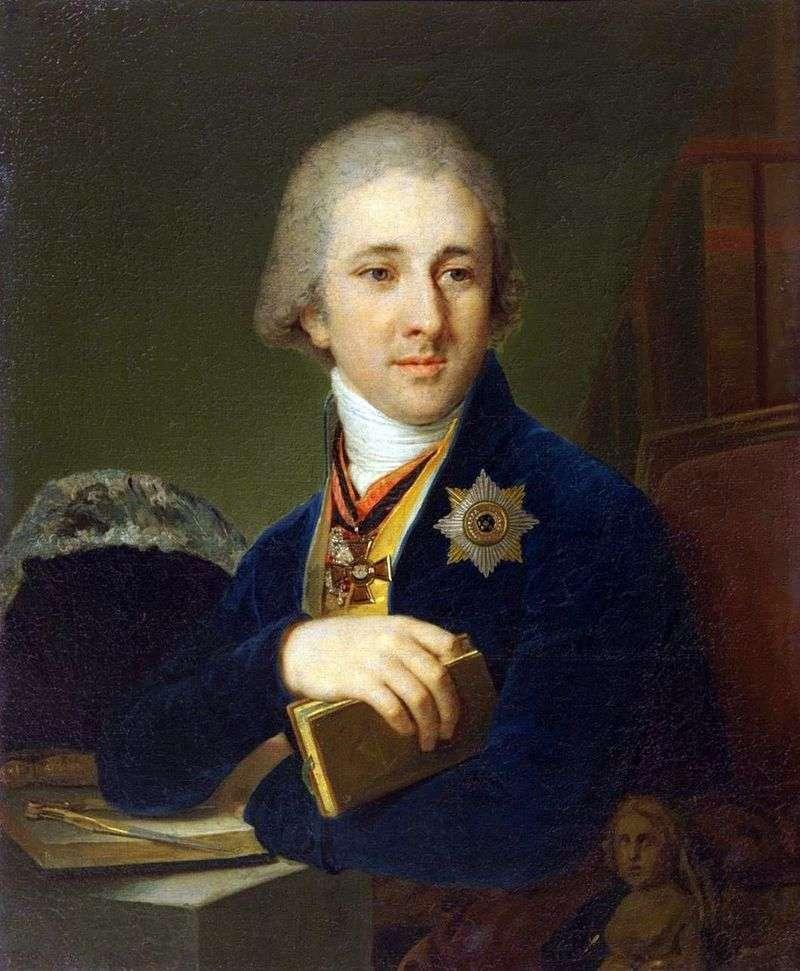 Portret pisarza, mason Aleksander F. Labzin w niebieskim kaftanie   Vladimir Borovikovsky
