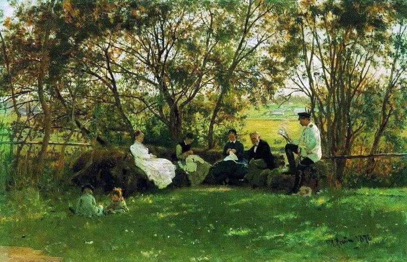 Na ławie darni   Ilya Repin