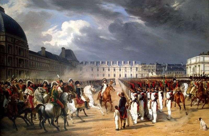 Osoba niepełnosprawna składająca petycję do Napoleona na paradzie strażników przed Pałacem Tuileries w Paryżu   Horace Vernet