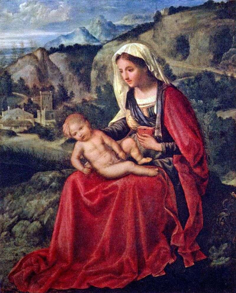 Maryja Panna z dzieckiem w tle krajobrazu   Giorgione