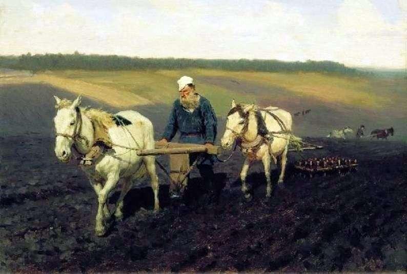 Oracz. Lew Tołstoj na gruntach ornych   Ilya Repin