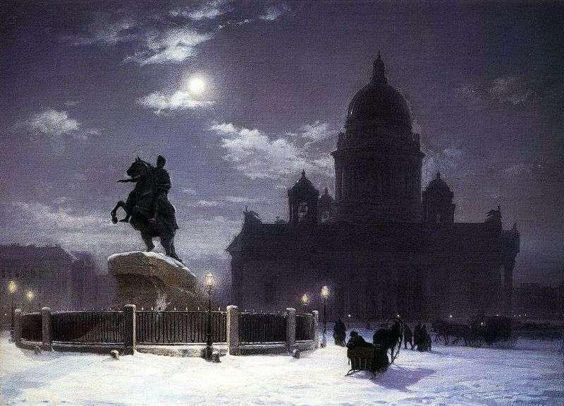 Widok na pomnik Piotra I w Sankt Petersburgu   Wasilij Surikow