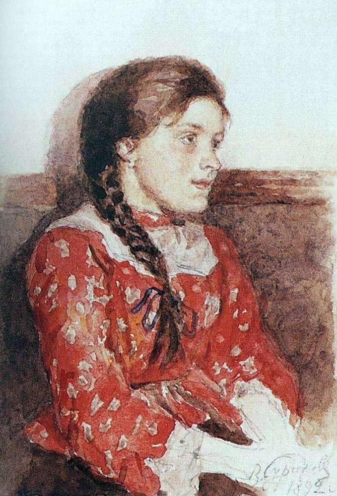 Dziewczyna w czerwonym swetrze   Wasilij Surikow