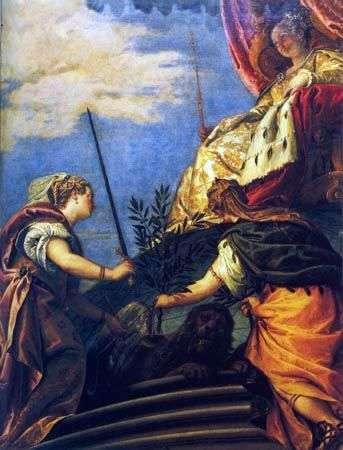 Wenecja   suweren z postaciami Sprawiedliwości i Pokoju   Paolo Veronese