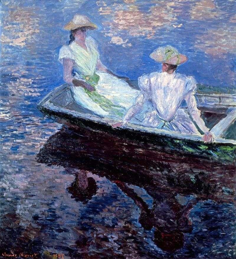 Dziewczyny w niebieskiej łodzi   Claude Monet