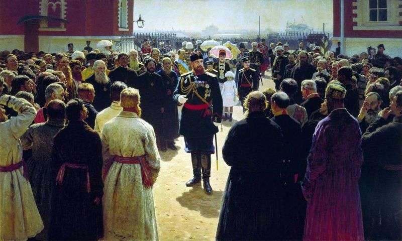 Odbicie brygadzisty brygady przez cesarza Aleksandra III na dziedzińcu Pałacu Pietrowskiego w Moskwie   Ilya Repin