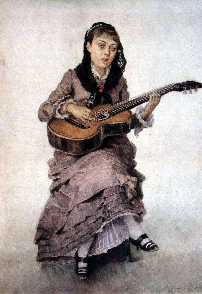 Portret księżnej S. A. Kropotkina z gitarą   Wasilij Surikow