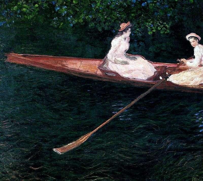 Dziewczyny żeglujące w łodzi na rzece Ept   Claude Monet