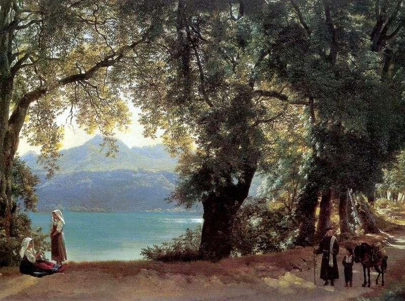 Widok na jezioro Nemi w okolicach Rzymu   Sylvester Shchedrin