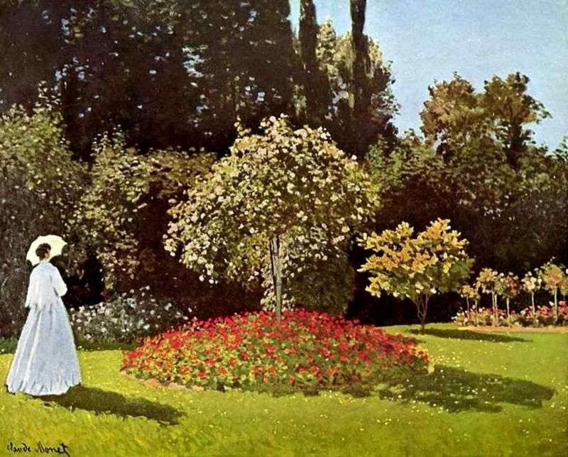 Lady in the Garden of Saint Adress (Jeanne Margarita Lecadre in the Garden)   Claude Monet