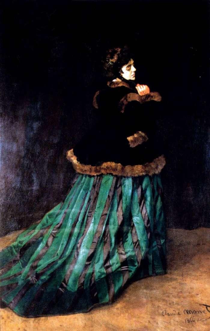 Kobieta w zielonej sukni   Claude Monet