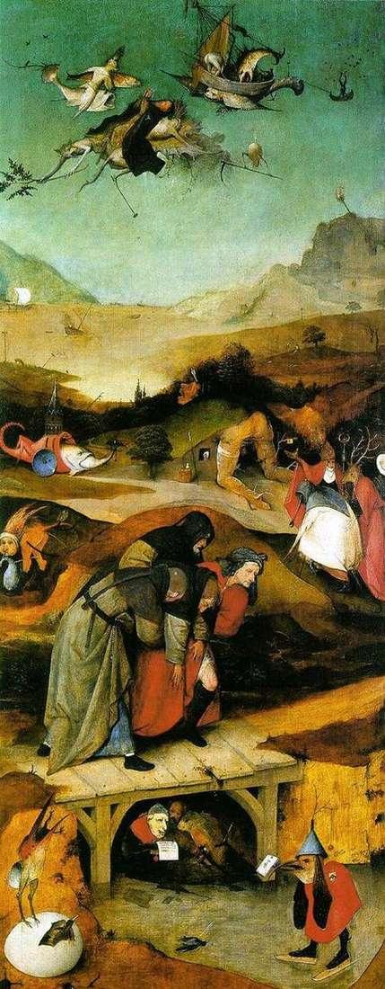 Lot i upadek św. Antoniego. Tryptyk Lewe skrzydło   Hieronymus Bosch