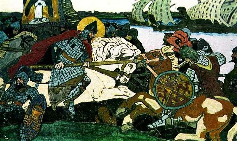 Aleksander Newski uderza Jarla Birgera   Nikołaja Roericha