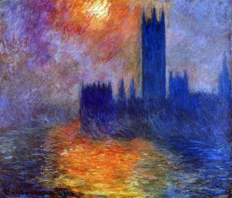 Budynek Parlamentu w Londynie. Zachód słońca   Claude Monet