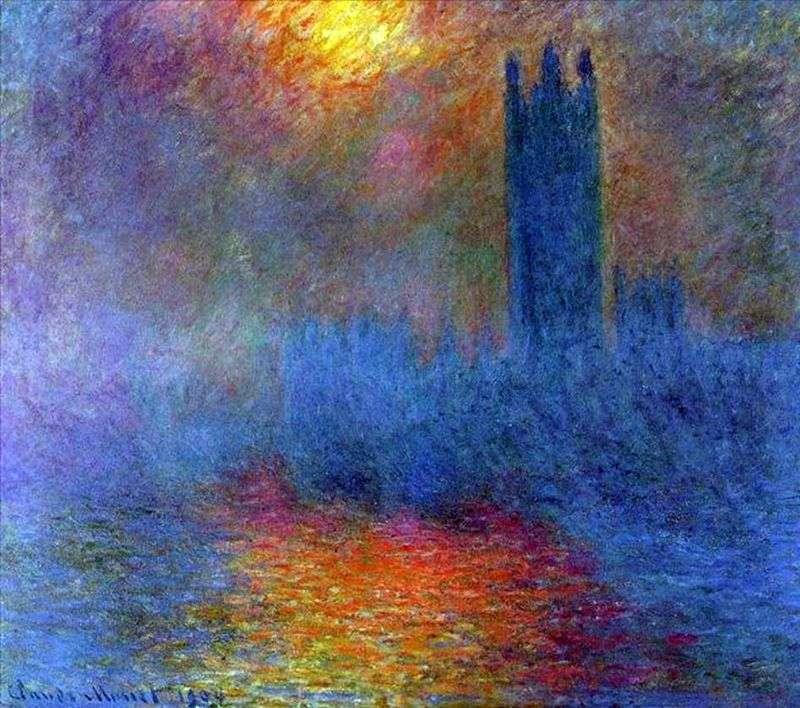 Budynek Parlamentu, słońce przeświecające przez mgłę   Claude Monet