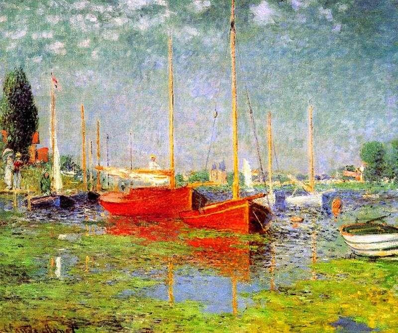 Czerwone łodzie w Argenteuil   Claude Monet