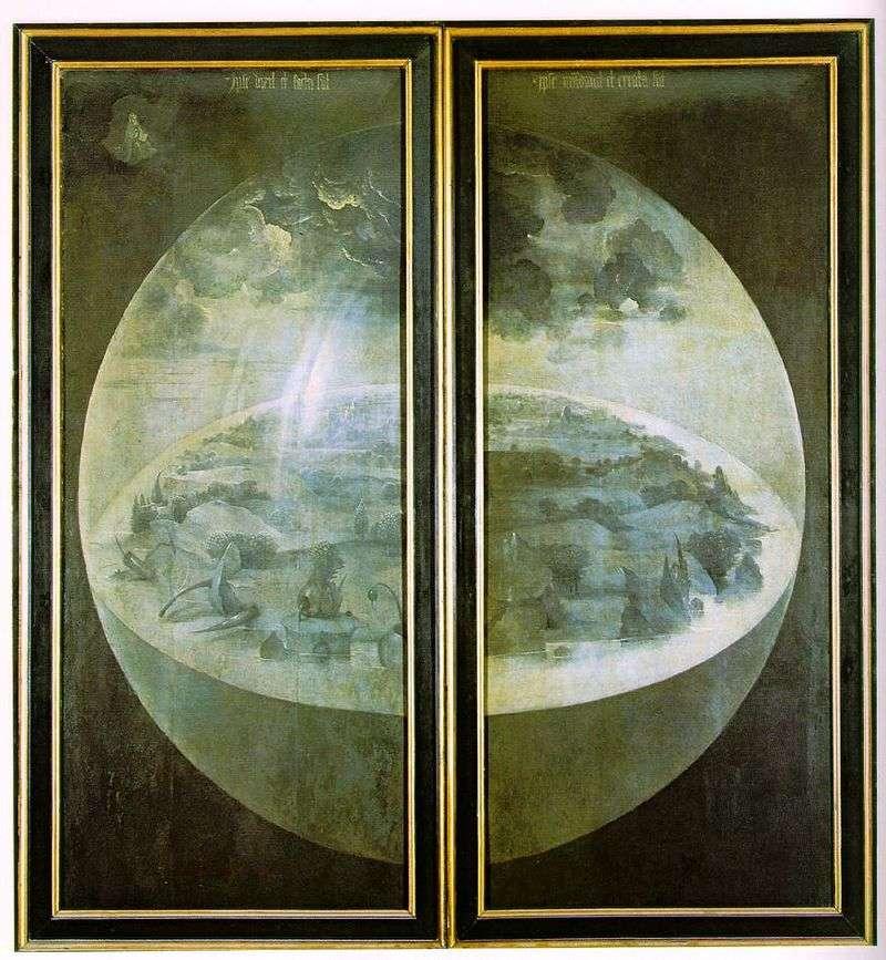 Stworzenie świata. Zewnętrzne drzwi tryptyku Ogród ziemskich rozkoszy   Hieronima Boscha