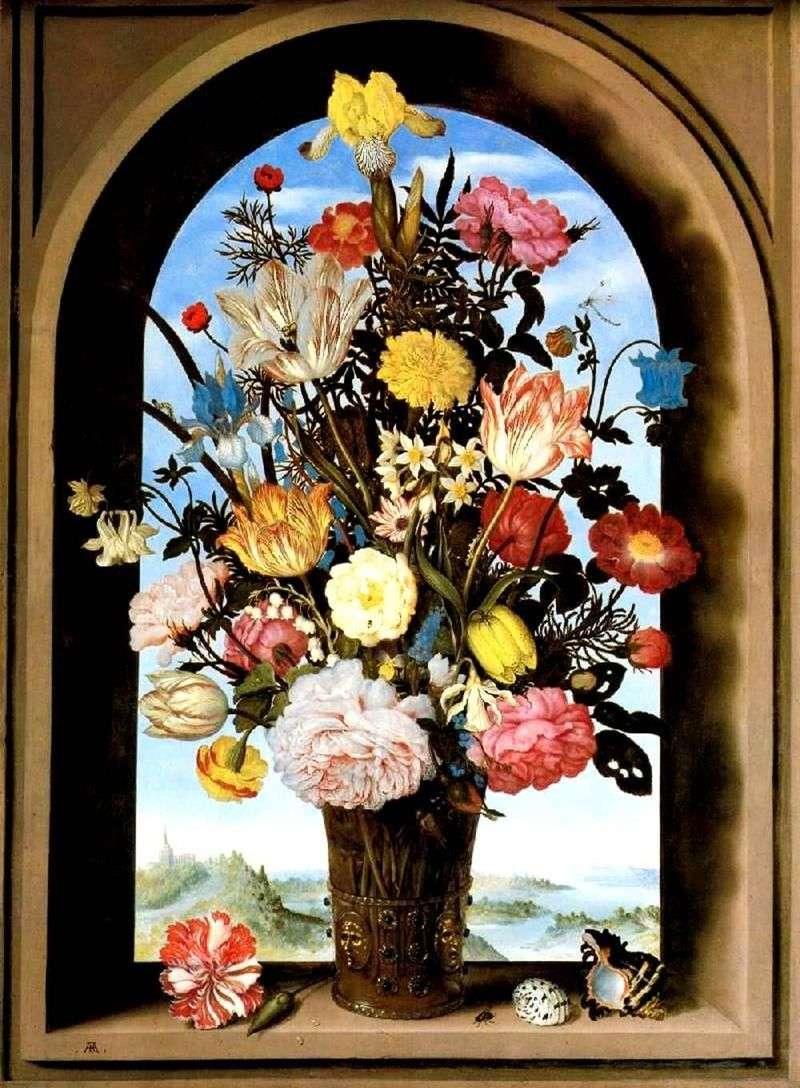 Bukiet w łukowatym oknie   Ambrosius Boshart