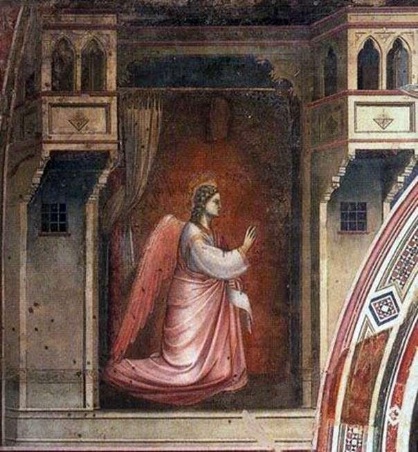 Figura Archanioła Gabriela z freskiem Zwiastowanie   Giotto