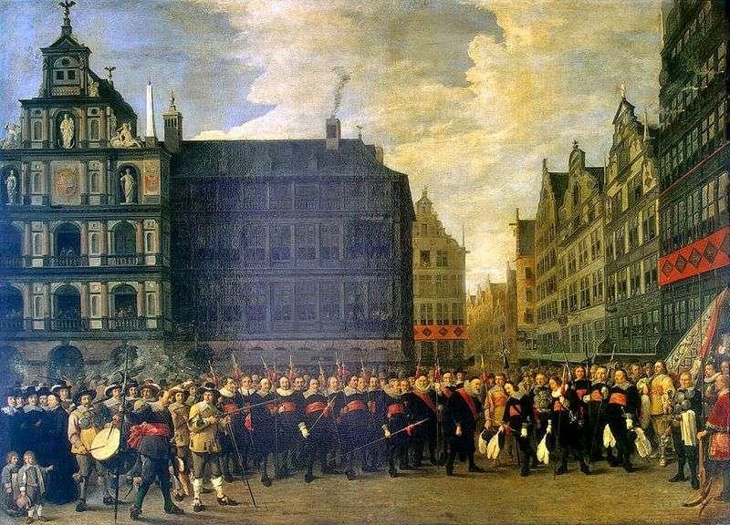 Grupowy portret członków gildii strzelców w Antwerpii   David Teniers