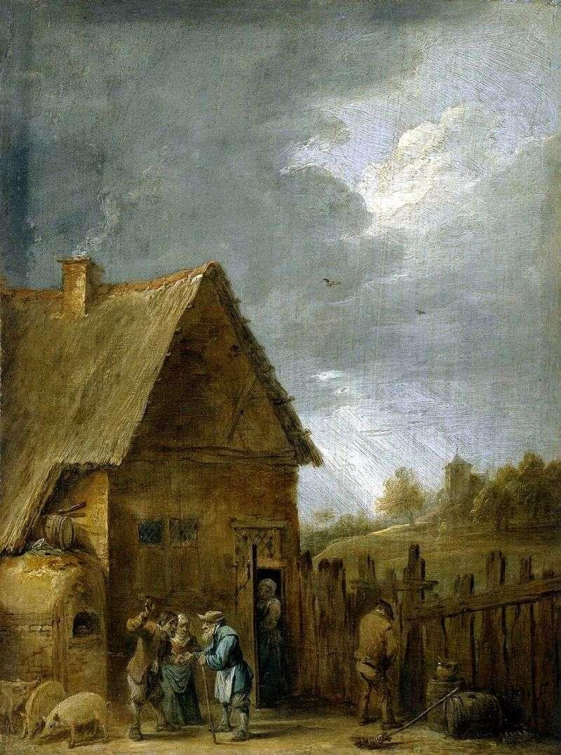 Dziedziniec wiejskiego domu   David Teniers