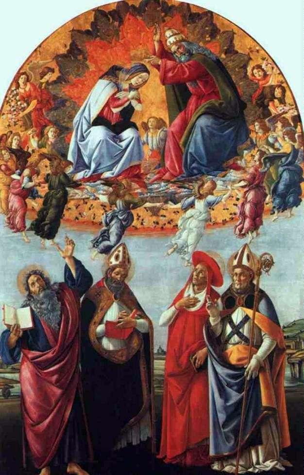 Ołtarz San Marco, czyli Koronacja Marii z Aniołami, Jan Ewangelista i Święty Augustyn, Jerome i Heligios   Sandro Botticelli