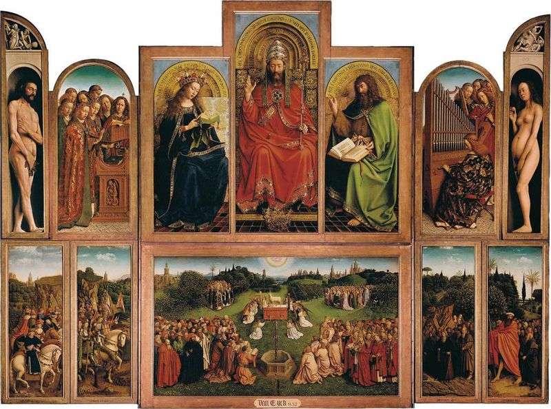 Ołtarz Gandawy   Widok na otwarty ołtarz   Jan van Eyck