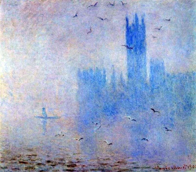 Parlament, liliowa mgła   Claude Monet