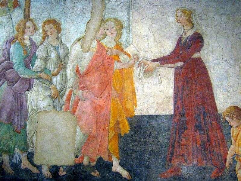 Freski w willi Macherelli. Młoda kobieta przyjmuje prezenty od Wenus i Trzech Gracji   Sandro Botticelli