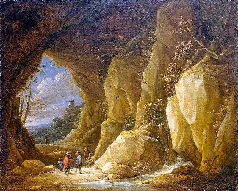 Krajobraz z grotą i grupą Cyganów   David Teniers