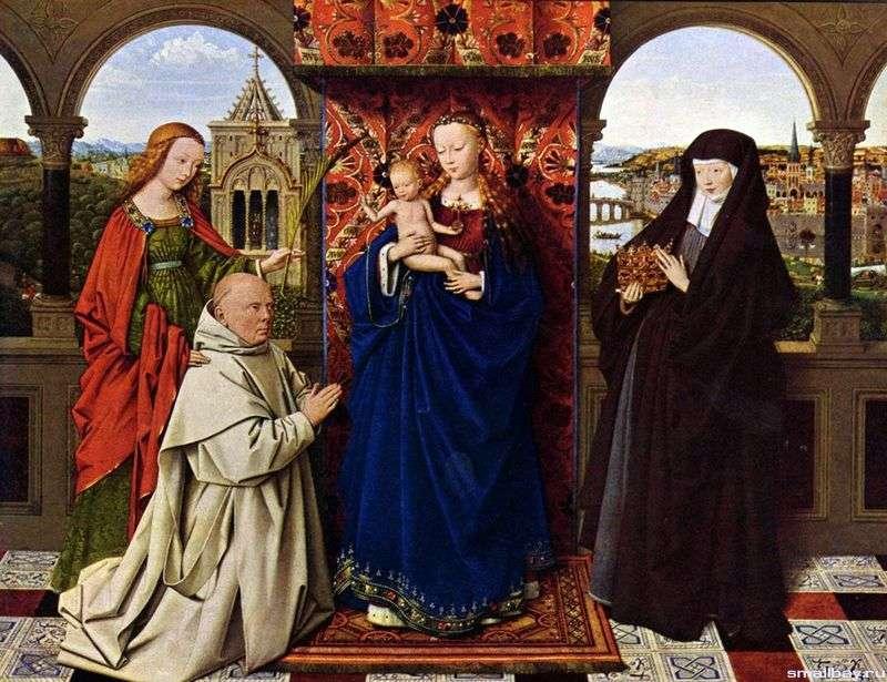 Madonna z mnichem kartuzów   Jan van Eyck