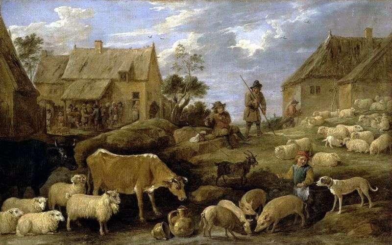 Krajobraz z pasterzem i trzodą   David Teniers
