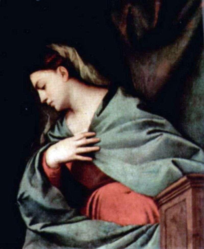 Zmartwychwstanie Chrystusa (Aptoldi Ołtarzowy Poliptyk), prawe skrzydło, scena powyżej. Maryja Panna   Titian Vecellio