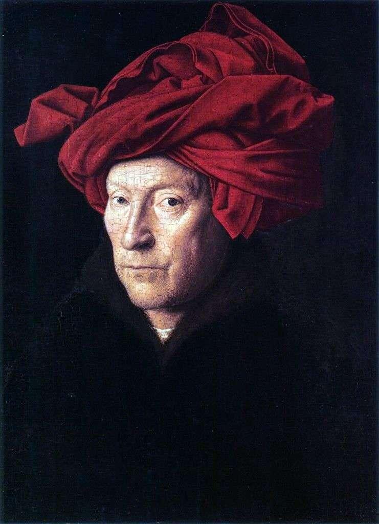 Portret mężczyzny w czerwonym turbanie   Jan van Eyck