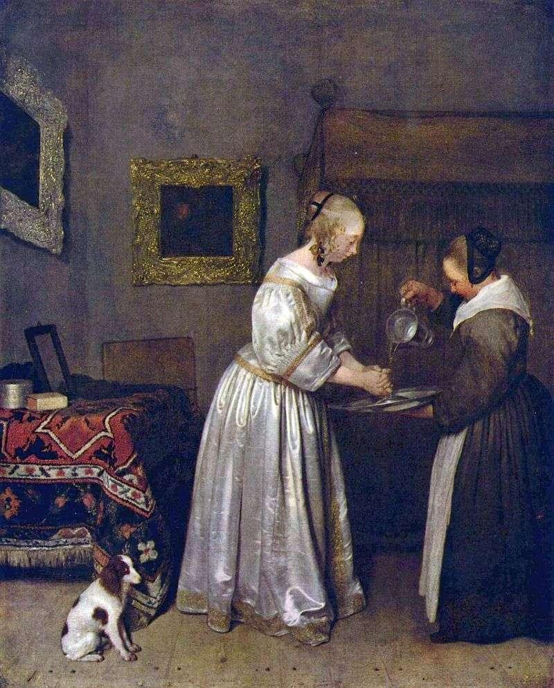 Kobieta myje ręce   Gerard Terborch