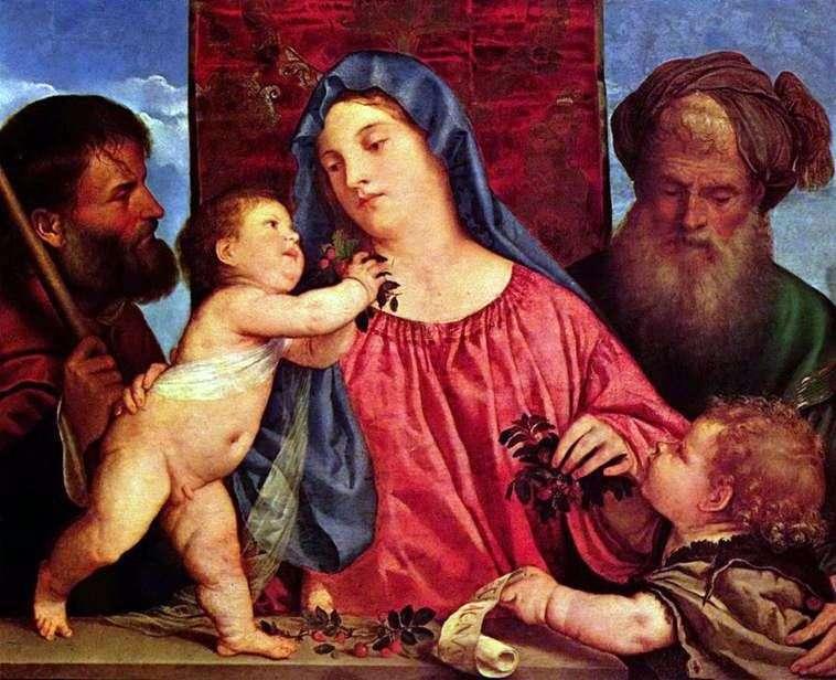 Madonna z wiśniami   Titian Vechelio