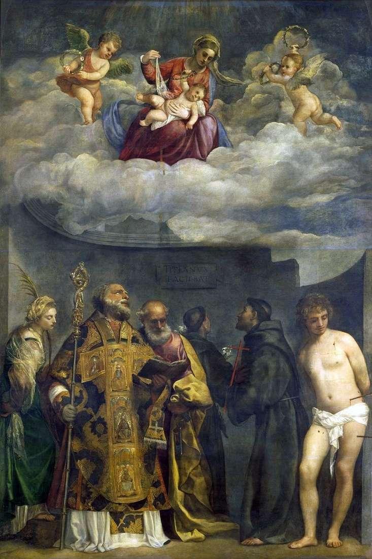 Madonna i dziecko ze świętymi   Titian Vecellio
