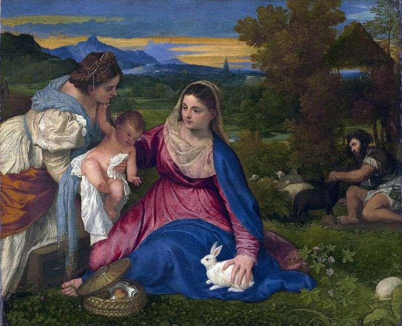 Madonna z Dzieciątkiem ze Świętą Katarzyną i Królikiem   Tycjanem Vecellio