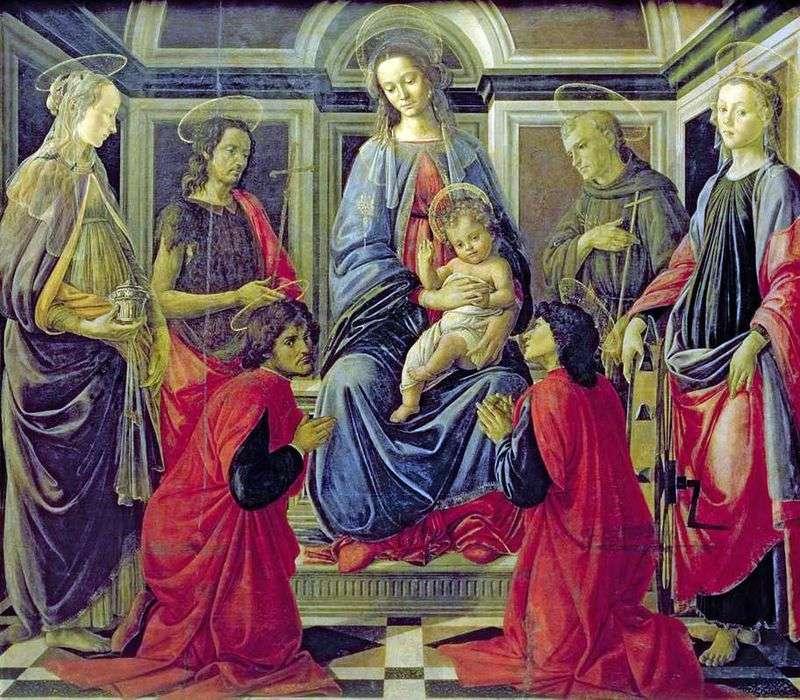 Madonna z Dzieciątkiem i świętymi Marią Magdaleną, Janem Chrzcicielem, Kozmą, Damianem, Franciszkiem z Asyżu i Katarzyną Aleksandryjską   Sandro Botticelli