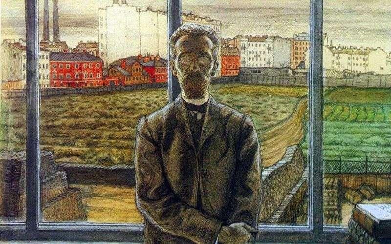 Mężczyzna w okularach   Mstislav Dobuzhinsky