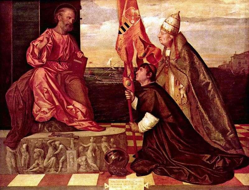 Papież Aleksander VI reprezentuje Jacopo Pesaro do Świętego Piotra   Tycjan Vecellio