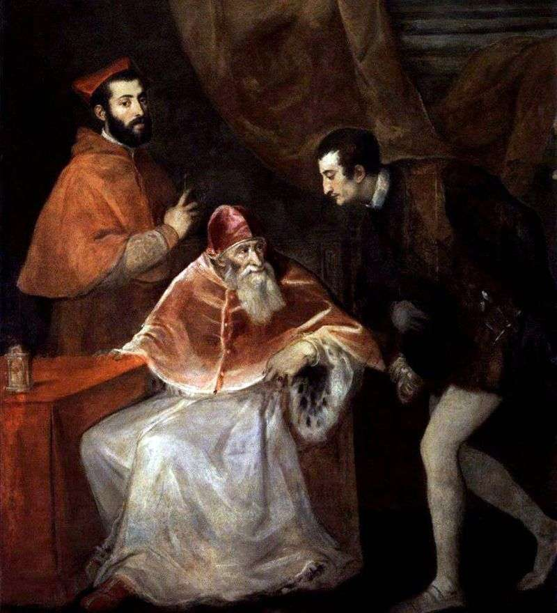 Papież Paweł III z Alessandro i Ottavio Farnese   Titian Vecellio