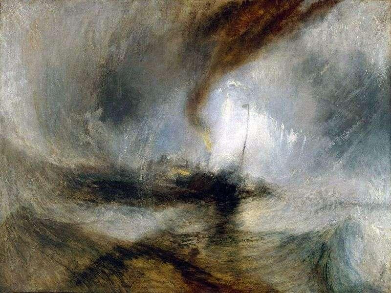 Blizzard. Steamboat wychodzi z portu i daje sygnał o niebezpieczeństwie, uderzając w płytką wodę   Williama Turnera