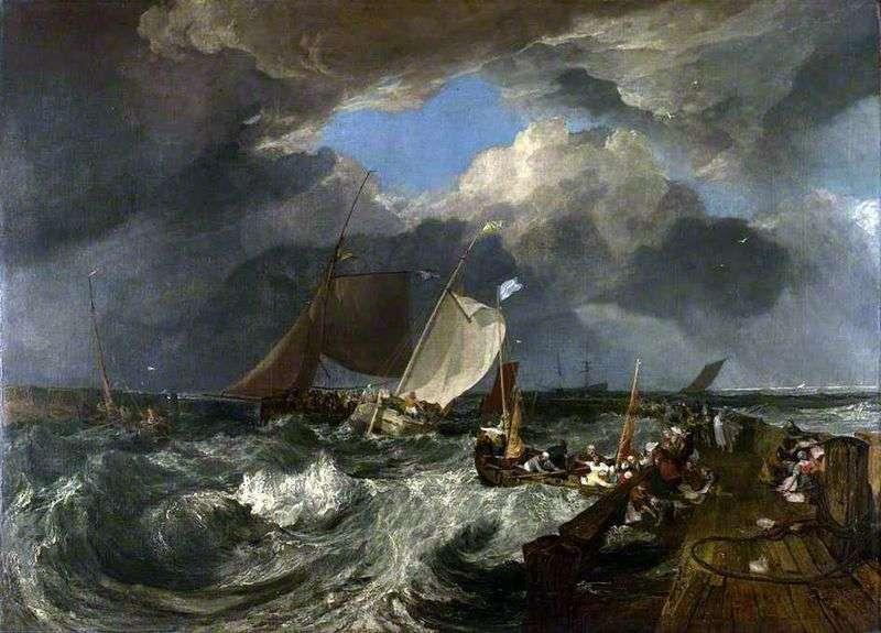 Molo w Calais. Francuscy rybacy udają się do przybrzeżnego morskiego angielskiego statku pasażerskiego   William Turner