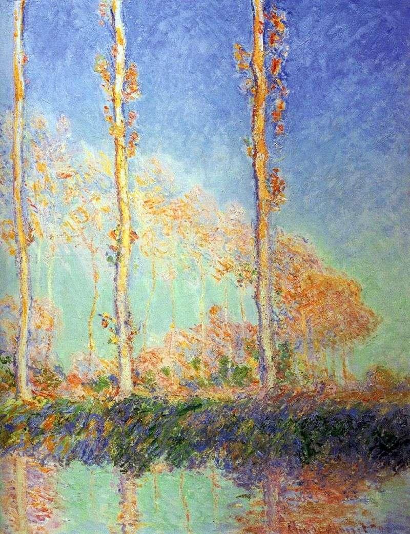 Topole, trzy różowe drzewa jesienią   Claude Monet