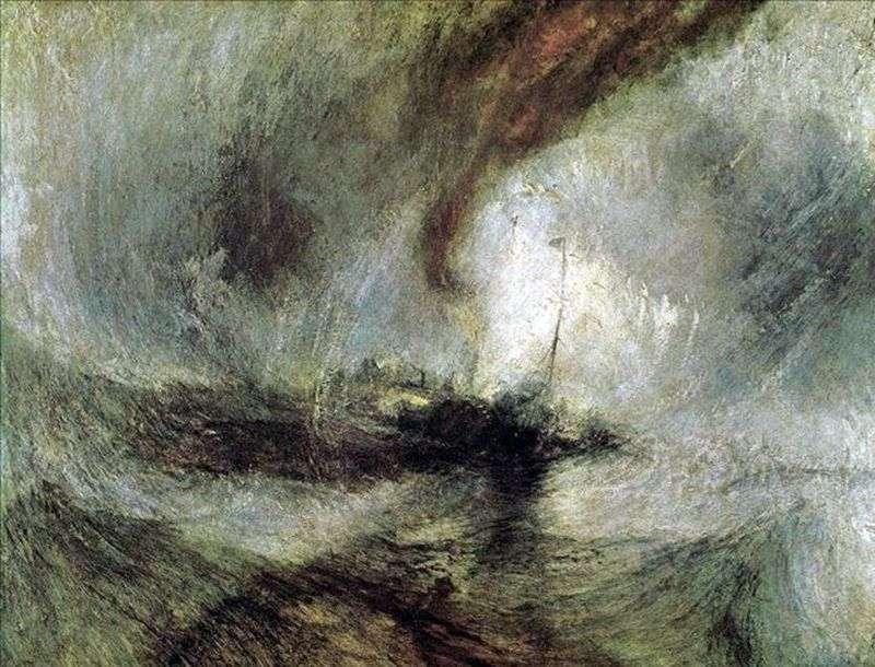 Blizzard, parowiec opuszcza port, dając sygnały na płytkiej wodzie i mierząc głębokość   William Turner