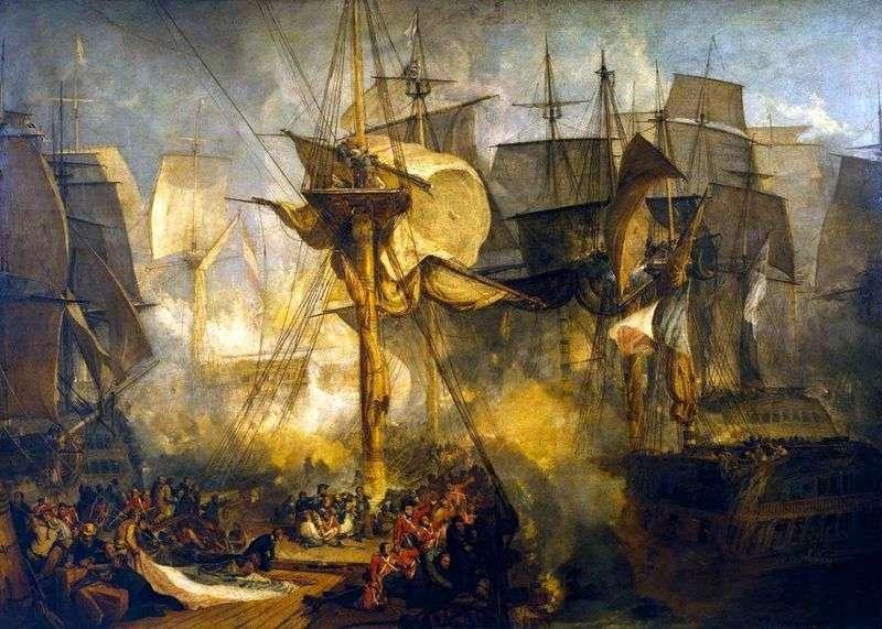 Bitwa pod Trafalgarem, widok z chłopaków z mauzenańskiego słupa po prawej stronie statku Victoria   William Turner